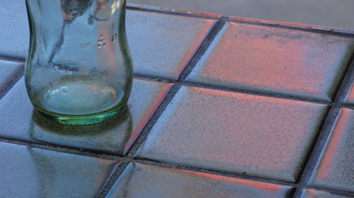 bottle and tiles